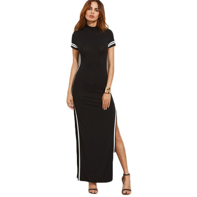 Striped Trim Short Sleeve High Neck Split Sheath Maxi Dress - 64 Corp