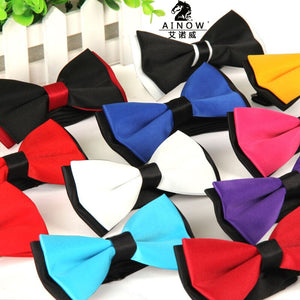 2015 Men's bowtie accesorios patchwor solid color bowknots bowties 12cm * 6cm butterfly bow tie gravatas borboleta lot Wholesale - 64 Corp