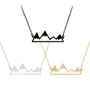 Gold/Silver Minimalist Mountain Top Pendant Snowy Mountain Necklace Hiking Outdoor Travel Jewelry Mountains Climbing Gifts - 64 Corp