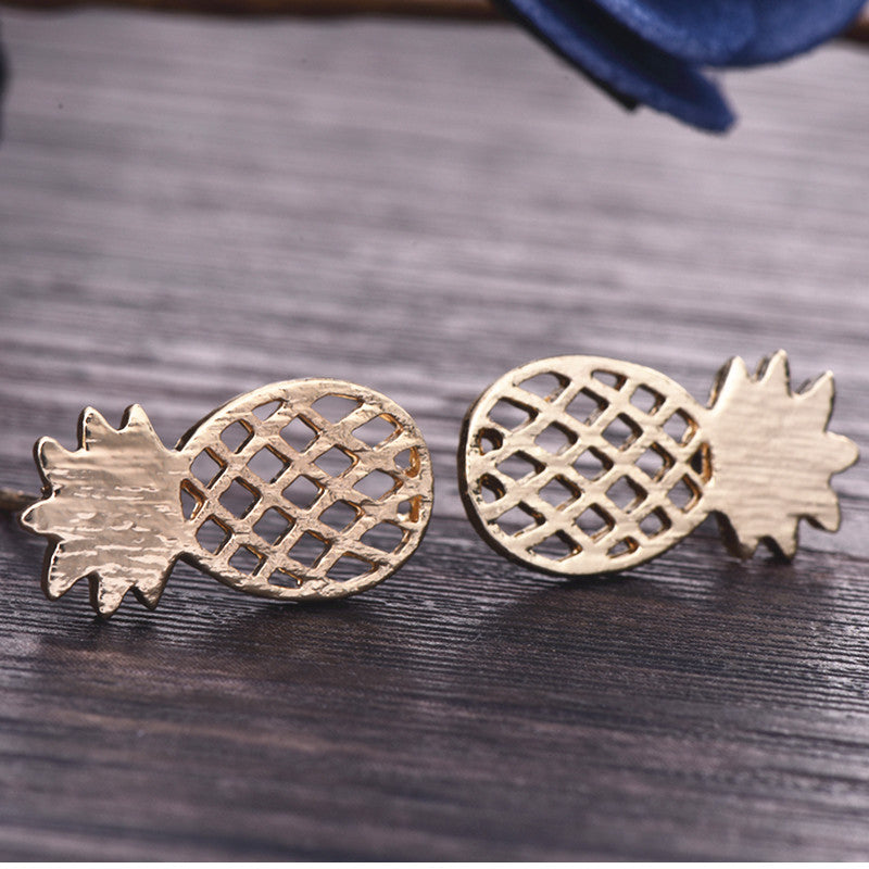 Best Friend Gift Minimalist Decoration Tiny Cute Pineapple Stud Earrings For Women Men e060 - 64 Corp