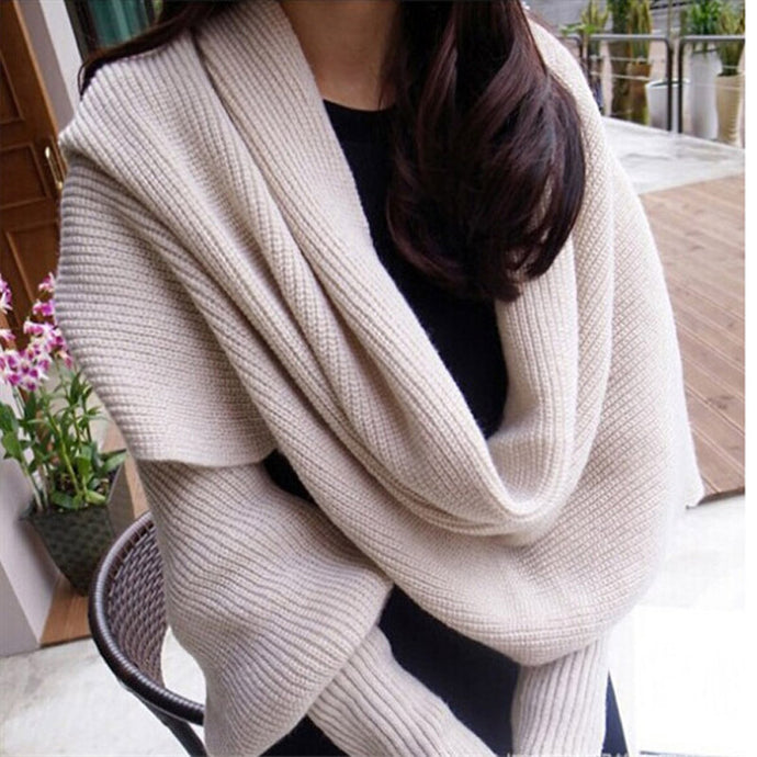 Fashion Woman Scarves Shawls Women Scarves Solid Sleeves Scarf Winter Warm Knitting Long Soft Wraps Scarves Novelty KH851919 - 64 Corp