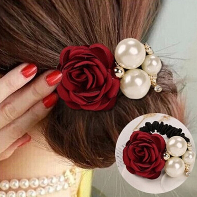 Women Ribbon Flowers Style Simulated Pearls Headband Decorating Alloy Elastic Hair Bands for Girls Hair Accessories - 64 Corp