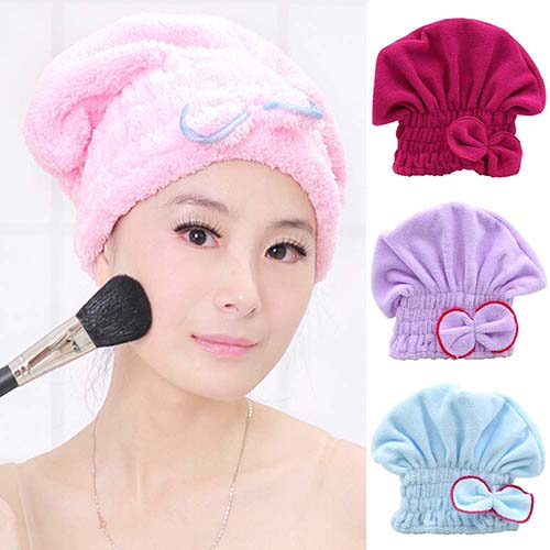 Women's Hair Drying Hat Spa Towel Turban Cap Cute Bowknot Soft Coral Velvet Micro-fiber  7JUM - 64 Corp