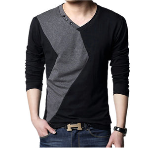 Big size cotton t shirt  Spring/autumn fashion mens T-shirt homme men's long sleeved V-neck patchwork color casual T-shirts - 64 Corp