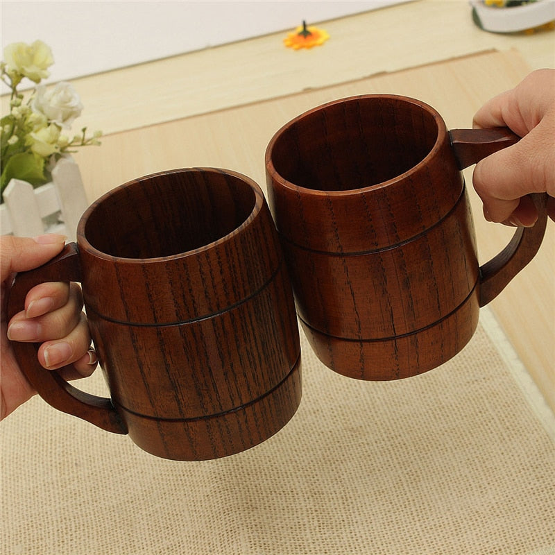 Big Promotion! Eco-friendly 400ml Classical Wooden Beer Tea Coffee Cup Mug Water Bottle Heatproof Home Office Party Drinkware