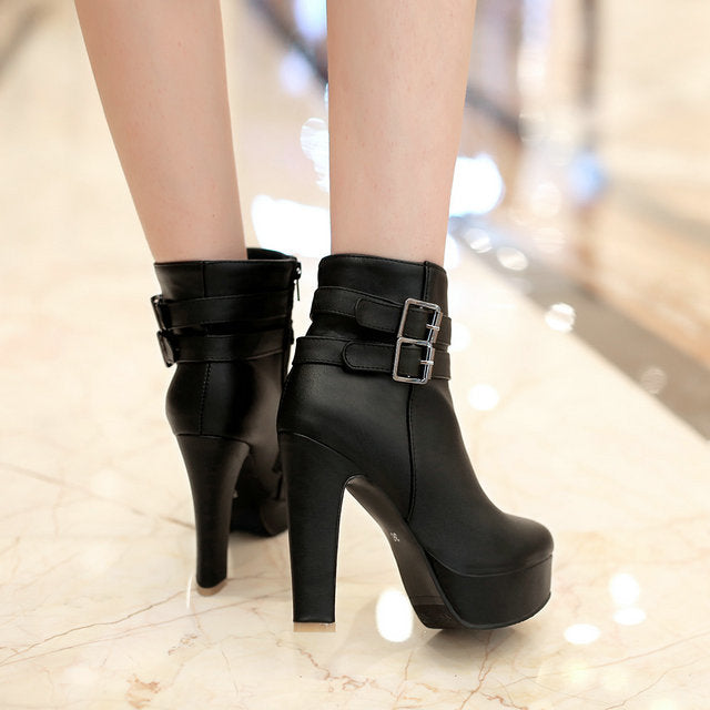 Womens Faux Leather Comfortable Ankle Boots Platform High Heel Booties for Women Fashion Buckle Winter Dress Shoes Black White - 64 Corp