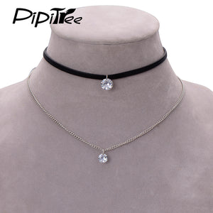2017 New Arrival Trendy Leather Choker Necklace with Crystal Charm Layer Necklaces & Pendants for Women Girls Gothic Collier - 64 Corp