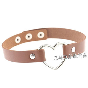 1 PCS Women Lady Favorite Punk Goth Harajuku Grunge Leather Rivet Heart Funky Torques Collar Gothic Choker Necklace Fine Jewelry - 64 Corp