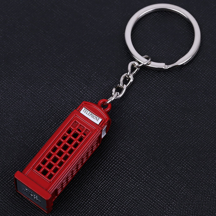 Vintage Telephone Booth British Miniature London Key Ring Diecast Metal Keychain Souvenir Gift - 64 Corp