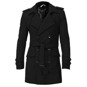 Men Epaulets Slim Fit Double Breasted Belted Worsted Coat Trench Winter Long Jacket Double Breasted Overcoat Woolen Outwear