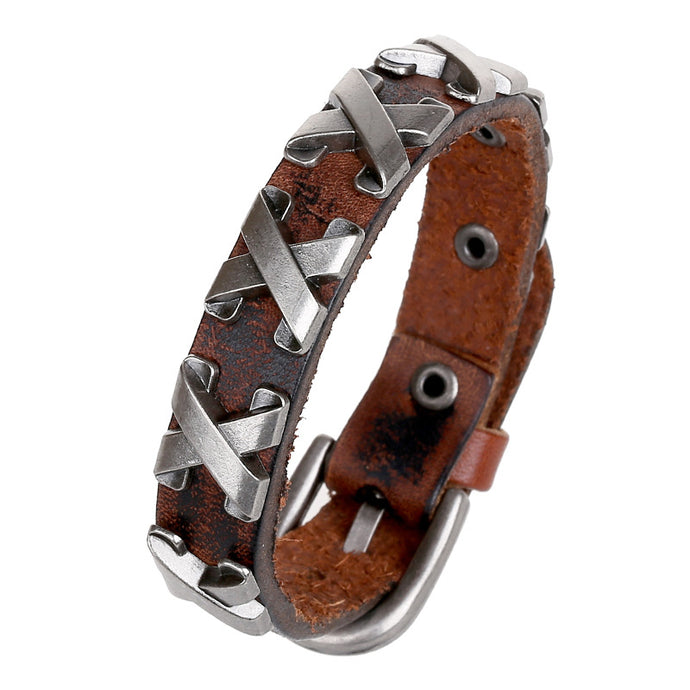 Punk Letters Handmade Men Bracelets Cow Leather Bracelet Retro Cuff Rope Bangles Cowboy Wristband Belt Buckle Vintage Jewelry - 64 Corp