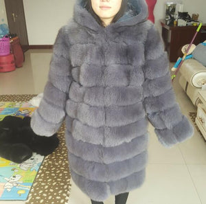 90cm real fox fur coat women's long blue coats Fox fur coat jacket hood