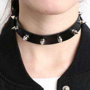 1PC Chic Punk Rock Gothic Unisex Women Men Leather Silver Spike Rivet Stud Collar Choker Necklace Statement Jewelry - 64 Corp