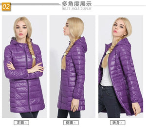 Winter jacket Woman Outerwear Slim Hooded Down Jacket Woman's Warm Down Coat Women Ultra Light Jackets White Duck Down Parkas