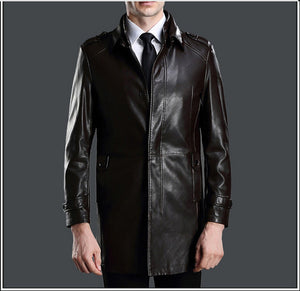 new arrival autumn and winter mens outwear conventional genuine Lambskin leather double attached collar long coats