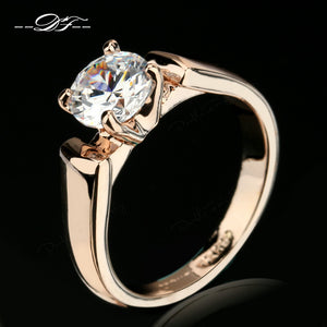 Double Fair 1.25 Carat Round Cut Cubic Zircon Engagement Rings Silver/Rose Gold Color Wedding Jewelry For Men/Women Anel DFR054 - 64 Corp