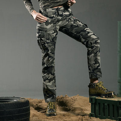 Band Military Style Camouflage Women's Pants High Quality Mid Waist Cargo Camouflage Army Green Leisure Trousers Capris GK-9370B - 64 Corp