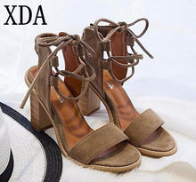 XDA 2017 Sexy Women Pumps Open Toe Lace up Heels Sandals Woman sandals Thick with Women Shoes women High heels X357 - 64 Corp