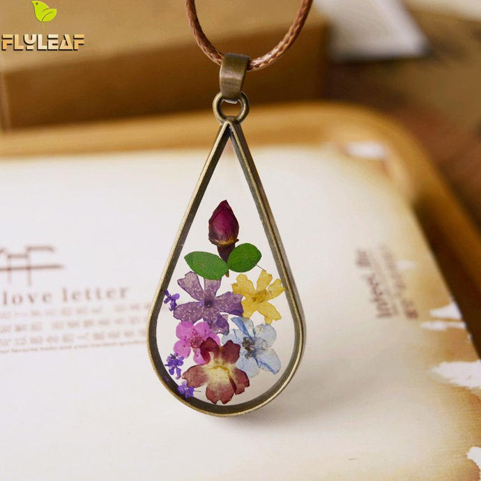 Flyleaf Handmade Vintage Style Natural Dried Flowers Long Necklaces & Pendants For Women Retro Girl Gift Bronze Jewelry - 64 Corp