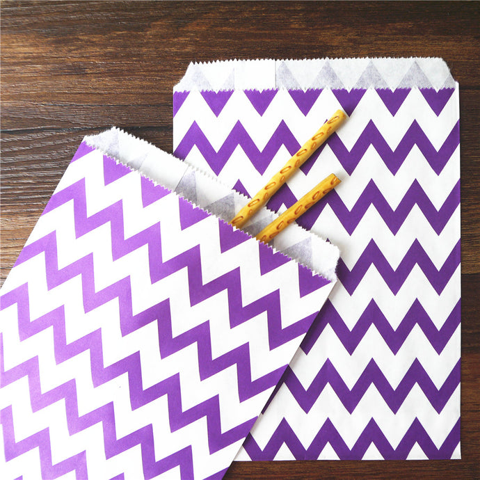 25pcs Paper Bag flat Wedding Party Favor Candy Gift Bags Food Packaging  purple Treat Craft Paper Popcorn Bags Food Safe chevron - 64 Corp