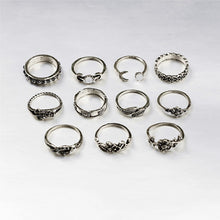 11pcs/Set Boho Vintage Punk Antique Flower Carved Midi Finger Rings For Women Bohemian Knuckle Ring Set Jewelry Anillos - 64 Corp