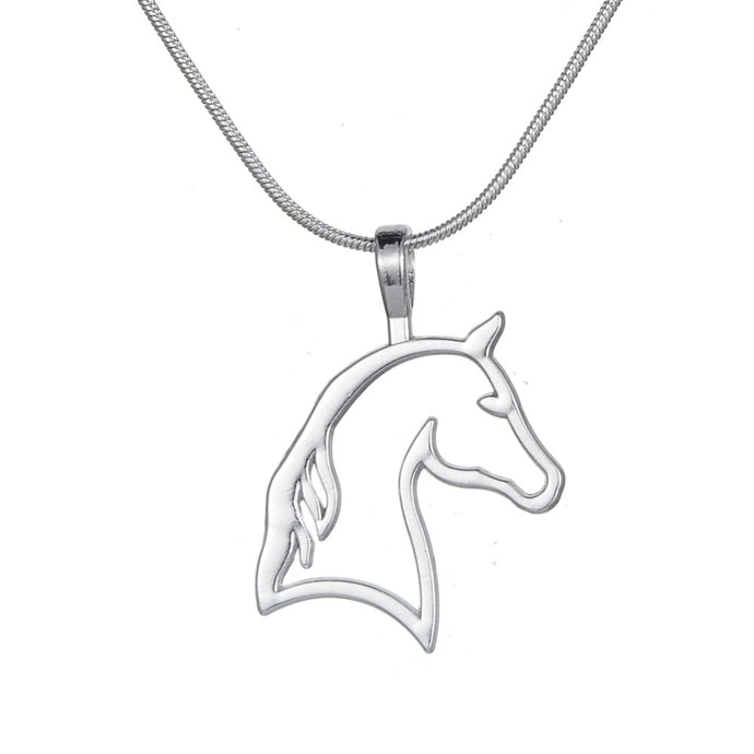my shape Silver Plated Cut Horse Head Necklaces Best for Cowgirl Teen Girls Equestrian Birthday Gift Jewelry for Horse Lovers - 64 Corp