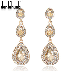 Top Luxury Champagne Crystal Earrings Gold Color Jewelry Fashion Female Bricons Wedding Long Big Drop Earrings For Women - 64 Corp