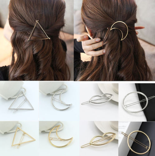 New Fashion Women Girls Gold/Silver Plated Metal Triangle Circle Moon Hair Clips Metal Circle Hairpins Holder Hair Accessories - 64 Corp
