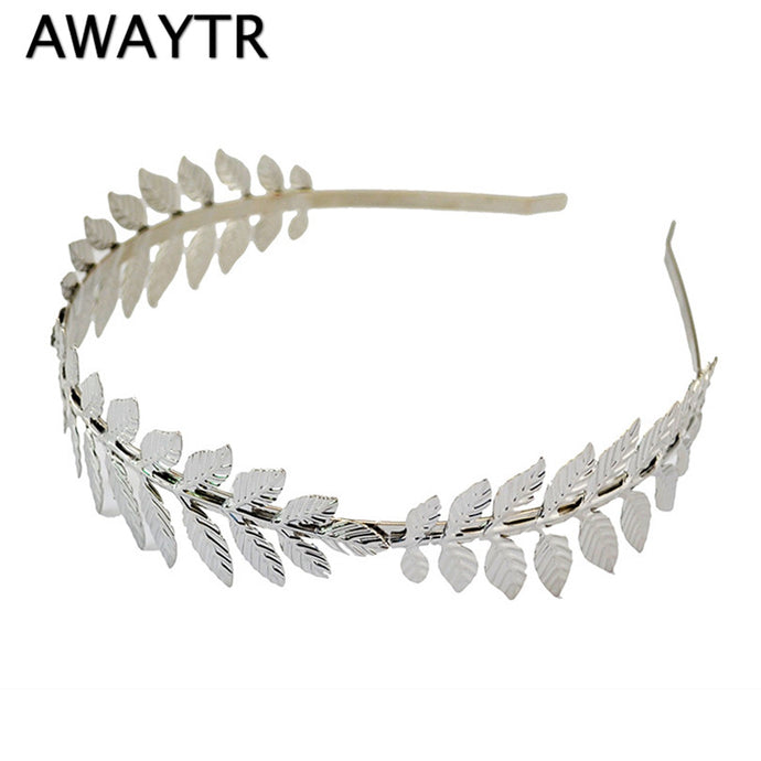 Fashion Gold Plated Metal Leaf Headband Hairband for Women Wedding Hair Accessories Tiara Elegant Silver Leaves Head Piece - 64 Corp