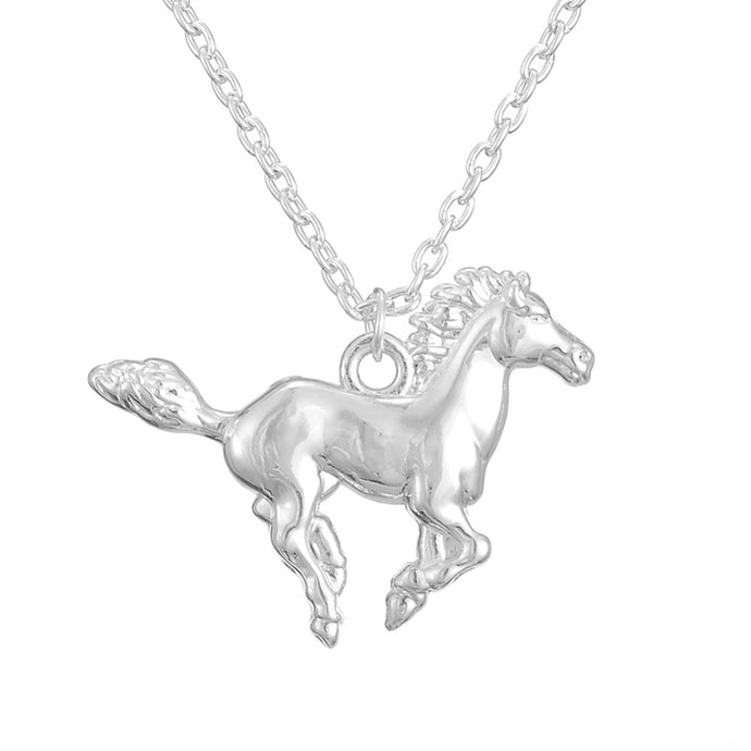 my shape Shiny Silver Plated Horse Pendant Necklace Best Jewelry Gift for Cowgirl and Horse Lovers - 64 Corp