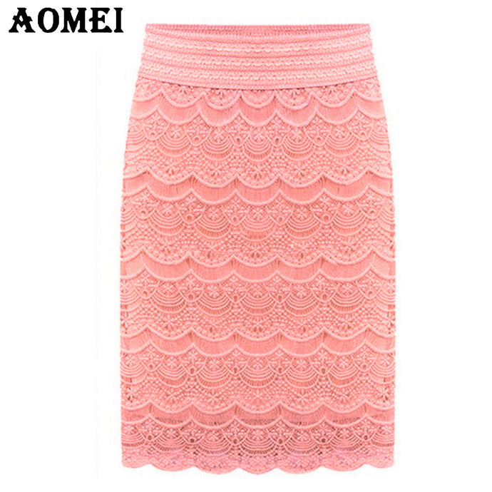 5XL  XXL Women Lace High Waist Skirts Beige Knee Length brief Office ladies faldas Praia bottoms Grunge Skort 2018 Spring Summer - 64 Corp