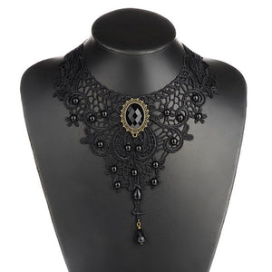 1PCNew Hot Women Black Lace& Beads Choker Victorian Steampunk Style Gothic Collar Necklace Nice Gift For Women - 64 Corp