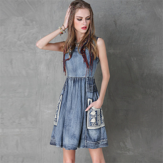 Cowgirl Embroidery Dress Sleeveless Denim Tank Dresses - 64 Corp