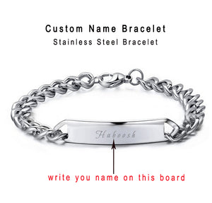 Custom Personalized Bracelet Name Engraved Cowboy Bracelets Men Customized Words Women Jewelry Provide Engrave Gift box Qi Qi Wu - 64 Corp