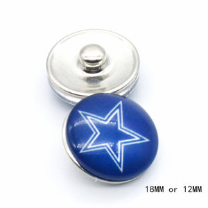 12pcs  team Dallas Cowboys Sport Glass Snaps Buttons 18mm 12mm sports jewelry fit for Snaps snaps bracelet - 64 Corp