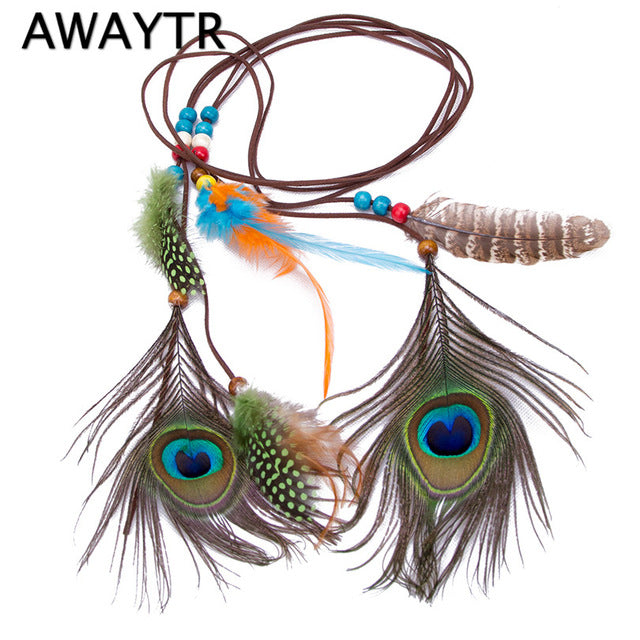 New Fashion Women Boho Style Festival Feather Headband Hippie Weave Hairband Head Band Hair Accessory for Girls Halloween - 64 Corp