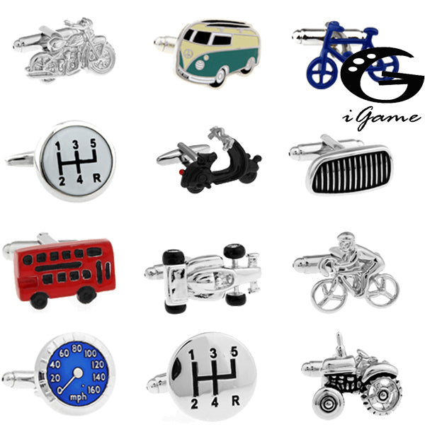 Free Shipping 18 Designs Vintage Bus Cufflinks Novelty Traffic Car Design Brass Material - 64 Corp