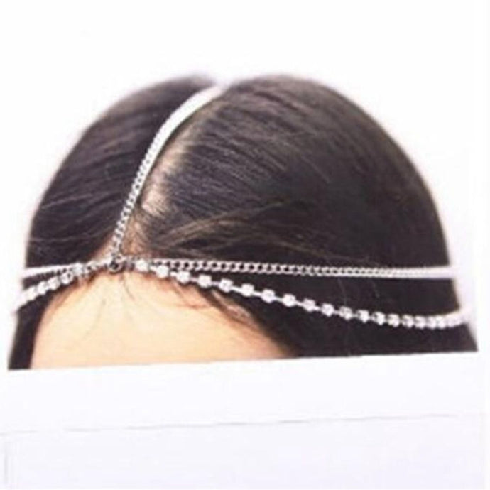 Fashion Boho Women Metal Gold Silver Multilayer Head Chain Headband Headpiece Bridal Wedding Hairstyle Hair Accessories - 64 Corp