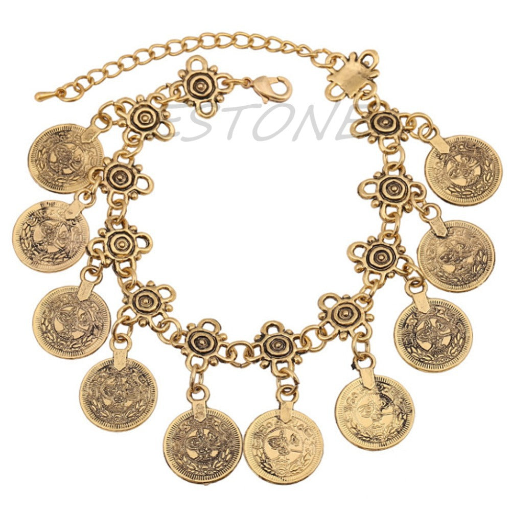 Silver Coin Anklet  Boho  Beachy Bracelet - 64 Corp