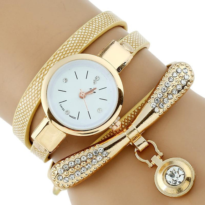 Gnova Platinum Fashion Luxury Brand New Women Rhinestone Gold Bracelet Watch Pu Leather Ladies Quartz Casual Wristwatch - 64 Corp