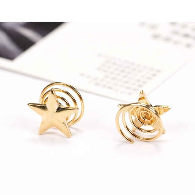 1PCS 2017 Latest Gold Stars Coil Spring Clips Hairpin Hair Jewelry for Woman Girl Head Accessories Wedding - 64 Corp