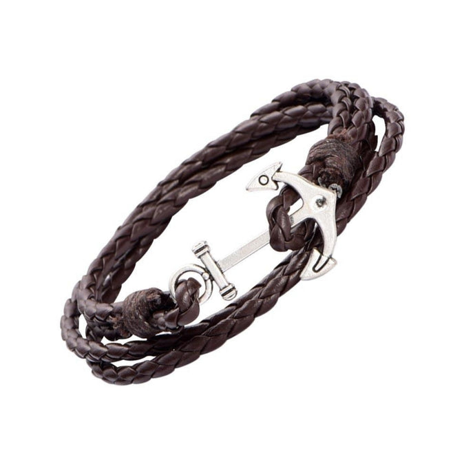 1x Vintage Anchor Multilayer Leather Bracelet Nautical gothic Braided Rope Men Women Unisex Bracelet - 64 Corp