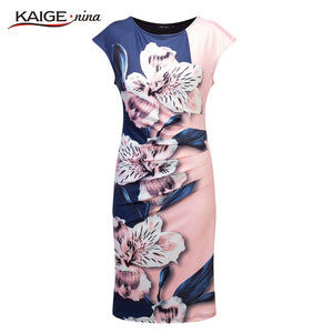 2017 Kaige Nina dress Women bodycon dress  plus size women clothing chic elegant sexy fashion o-neck print dresses 9026 - 64 Corp
