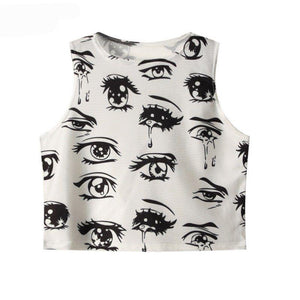Eye Print Crop Tank Top Street Clothes Stylish - 64 Corp