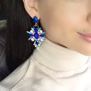 Hot Colorful Flower Big Brand Design Luxury Rhinestone Starburst Pendant Crystal Gem Statement Earrings Jewelry - 64 Corp