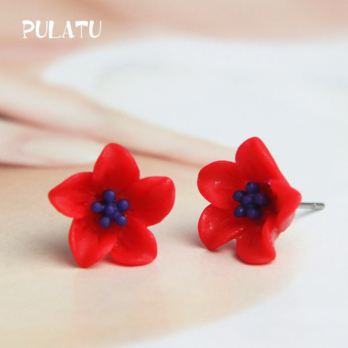 10 Color Flower Stud Earring For Women Resin Minimalist Small Earrings Fashion Jewelry PULATU HD118 - 64 Corp