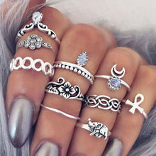 10pc/set Unique Boho Beach Carved Punk Elephant Moon Finger Midi Ring Set Party Jewelry Gift for Women Girl Knuckle Anillo G029 - 64 Corp