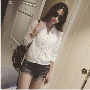 Hzirip Lace Hollow Out Jackets 2017 Spring Summer New Casual Slime Women Thin Jacket White Black Lady Shorts Outwear Plus Size - 64 Corp
