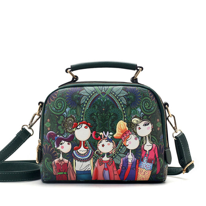 Green Cartoon Shoulder Handbag - 64 Corp
