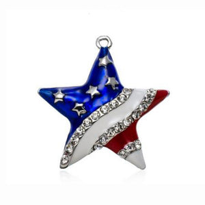 Patriotic 4th of July Independence Day USA Flag Rhinestone Star Pendant - 64 Corp